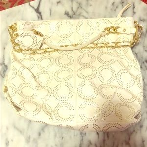 Coach Gold and White Brooke Bag